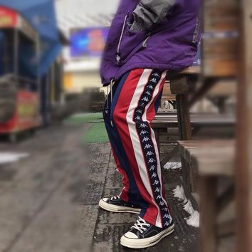 """Kappa"" Unisex Sport Fashion Retro Multicolor Stitching Webbing Wide Leg Leisure Pants Trousers Couple Sweatpants"