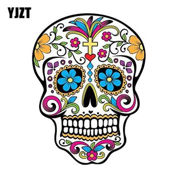 Skull Skulls Halloween Fall YJZT 10.2CM*13.5CM MEXICAN SUGAR  Reflective Car Sticker Car Window Motorcycle Parts C1-7079 Calavera
