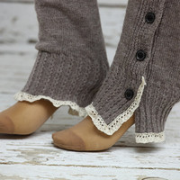 Double side ruched button Leg Warmers Soft Knit Leg Warmers Women Socks -boot socks Lace leg warmers Women's Knitted  Leg Warmer