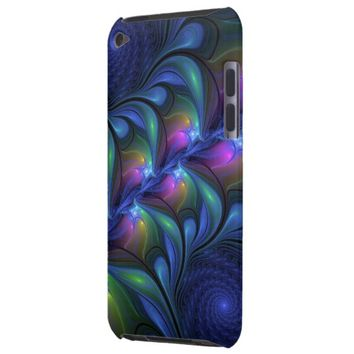 Colorful Luminous Abstract Blue Pink Green Fractal Barely There iPod Case