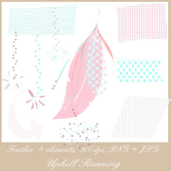 """Feather clipart set, 20 pcs, pink and mint clip art, hand drawn digital website images, 1.8-5.6"""", 10PNG + 10JPG, Instant Download"""