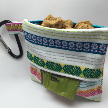 Dog Treat Bag - Dog Poop Bag Dispenser - Leash Treat Pouch - Fabric Poop Bag Holder