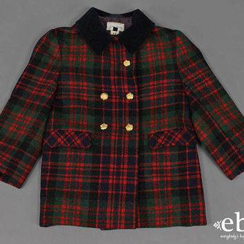 Vintage Neiman Marcus Plaid Wool Coat Kid's Vintage Children's Vintage Toddler Vintage Vintage Wool Coat Military Coat Toddler Coat 4T 4
