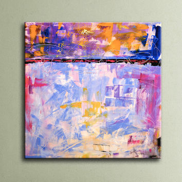 Pink Lavender Purple Orange Yellow Black Blue Original Abstract Painting on Canvas Wall Art 32x32 inch Home Decor Wall Hanging AU19