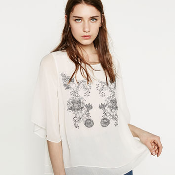 TOP WITH EMBROIDERY DETAIL - TOPS-SALE-WOMAN | ZARA United Kingdom