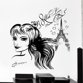 Wall Vinyl Decal From Paris With Love France Eiffel Tower Girl Home Decor Unique Gift z4197