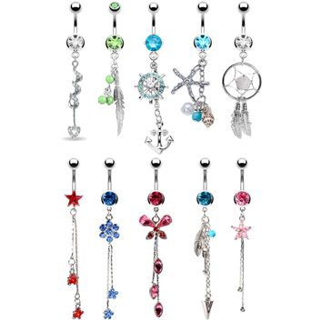 BodyJ4You 10 Belly Button Rings Long Dangle 14G Stainless Steel CZ Crystals Navel Body Jewelry