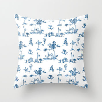 Blue Toile Unicorn Throw Pillow by That's So Unicorny