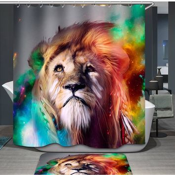 Colorful King Lion Shower Curtain Light Polyester Water Midlewproof