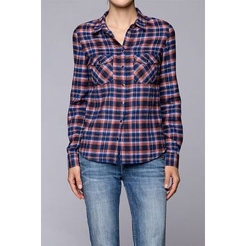 Plaids & Checks Snap Button Down Low Hem Shirt Blouse Top