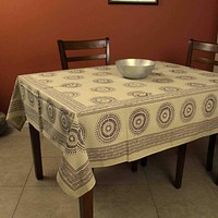 Cotton Floral Geometric Circle Print Tablecloth Rectangle 60x90 Green Off White