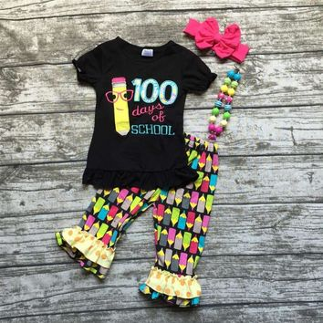 100 days of school girls back to school outfit with Headband and Necklace