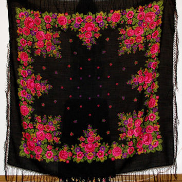 Amazing huge black wool shawl with fringes Pavlovo Posad shawl Vintage Russian Shawl Ukrainian Shawl with Tassels / Roses Flowers 58,27""