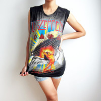 Led Zeppelin Shirt Retro UK Hard Rock Swan Song T Shirts Women Tank Top Sleeveless T-Shirt Vest Size M