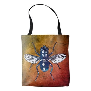 Blue Flying Insect - Grunge - Orange Tote Bag