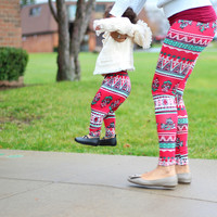 Mother and Daughter Leggings - Matching Red