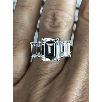 Handmade 5.5TCW Emerald Cut Russian Lab Diamond Journey Ring
