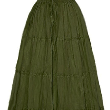 I-D-D Renaissance Peasant Wench Pirate Faire Women 's Gown Boho Hippie Sun Dress Olive  S/M
