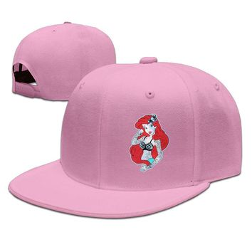 Twisted Ariel Little Mermaid Tattoo Funny Unisex Adult Womens Fitted Hats Mens Snapback Caps
