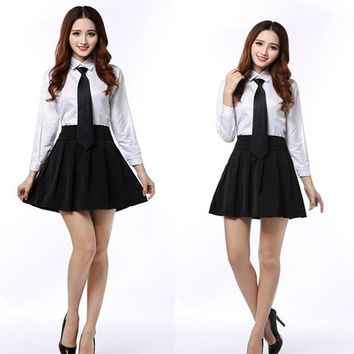 C30 Formal Long Sleeve School White Shirt Black Skirt With Tie Student Costume Office Wear Japanese School Uniform Shirt