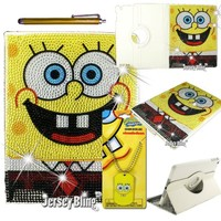 Sponge Bob Gift Set for iPad 2/3/4 Crystal & Rhinestone 360 Degree Rotating Faux Leather Case with FREE Sponge BobDog Tag