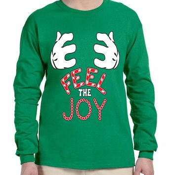 Men's Long Sleeve Feel The Joy Mickey Hands Cute Xmas Shirt