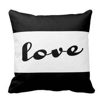 modern love pillow bold black and white text