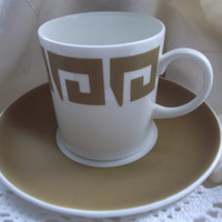 REDUCED : Retro Susie Cooper Wedgwood coffee cup / can and saucer in Old Gold Keystone design