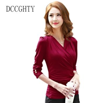DCCGHTY Women Tee Shirt Femme Long Sleeve Sexy Low-cut V-neck Tshirt Women Tops 2018 Summer Casual Women T-shirt Female Top