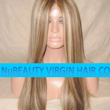 "CUSTOM COLORED Human Hair Wig Full Lace 20"" Long Straight Brown Blonde Highlights"