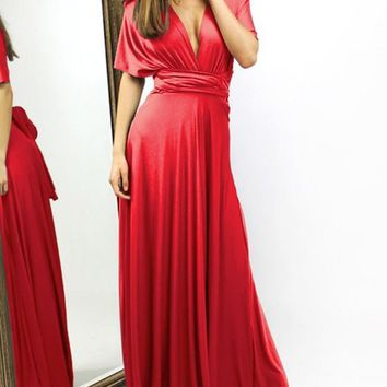 Red Draped Tie Back Backless Multi Way Deep V-neck Party Maxi Dress
