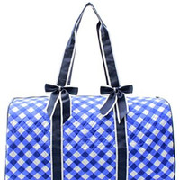 Plaid Quilted Duffel Bag - 3 Color Choices