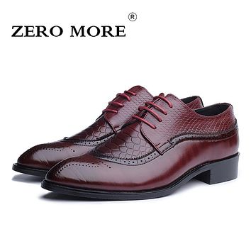 ZERO MORE Size 38-48 Men Brogue Shoes High Quality Gradient Color PU Leather Men Shoes Snakeskin Pattern Oxford Shoes for Men