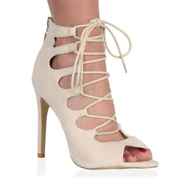 Laila Nude Faux Suede Lace Up Heel Sandals