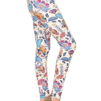 Zizyme Women's Super Soft Floral Print Plus Size Legging