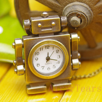 Victoria Retro Lovely Robot Pocket Watch Necklace Pendant Chain N027