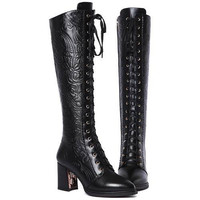 Genuine leather motorcycle boots Black