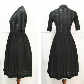 Black Eyelet  Dress 50s 60s Vintage 36 bust 26 waist