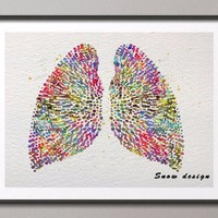 Original Watercolor Human Lungs poster print Canvas painting Anatomy medical wall art Picture Home Decor Wall hanging Giclee art