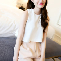White Pleated Back Chiffon Hanging Blouse