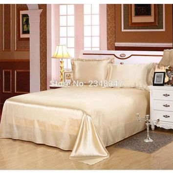 Luxury Smooth Silky Home Hotel Satin Twin/Full/Queen/King Size Flat Sheet Bed Cover Solid Color Beige Champagne Flounce Edge
