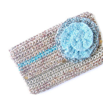 Unique hand crochet purse, clutch, fold over, case, gold and copper, flower