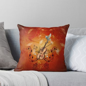 'Violin with violin bow and dove' Throw Pillow by nicky2342