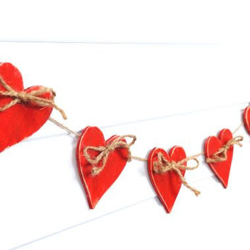 Valentine decoration hearts garland Set of 10 Wooden red heart  Rustic Holiday banner wedding decor