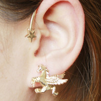 Golden Star And Unicorn Ear Cuff