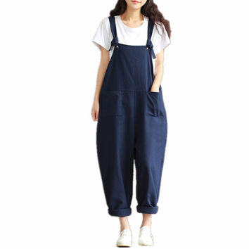 2016 Summer women's Jumpsuits Vintage Rompers Plus Size Salopette Bib Short Brushed Casual elegant Cotton Linen Pants Overalls