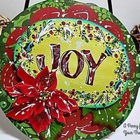 Joy Handmade Circular Christmas Card . Ready to Ship.