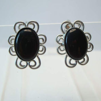 Celebrity NY Black Cabochon Clip On Earrings Vintage Jewelry