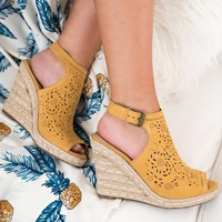 Good Days Only Not Rated Peep Toe Wedges (Mustard)
