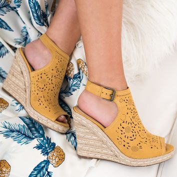 567ea3f8c55a Good Days Only Not Rated Peep Toe Wedges (Mustard)